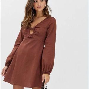 ASOS linen mini skater dress w/tortoiseshell ring